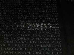 My uncle's name on the wall. I didn't know it at the time, but the day my friends helped me get this shot for my mom would have been my uncle's 68th birthday.